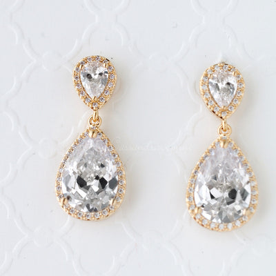 Pear Drop CZ Earrings for the Bride