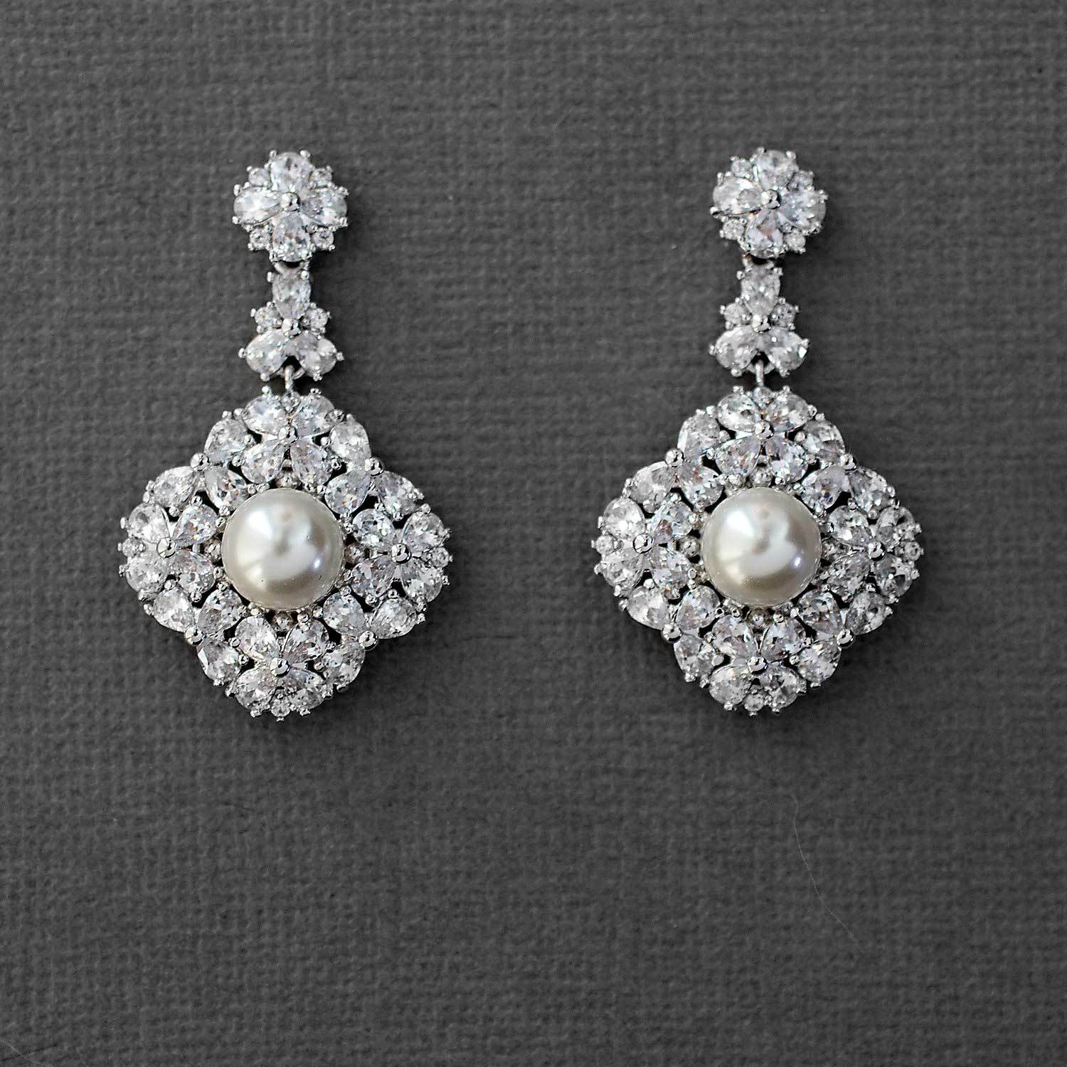 Ivory Pearl CZ Drop Earrings for the Bride