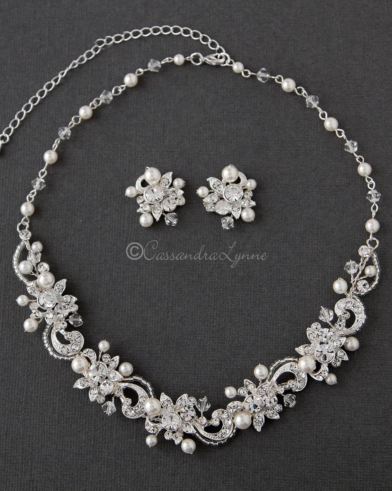 Crystal and Pearl Floral Bridal Necklace Set