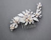 Silver leaves Wedding Comb with Pearls