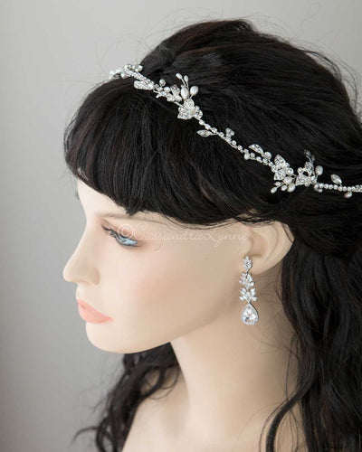 Ivory Pearl and Jewels Bridal Hair Vine