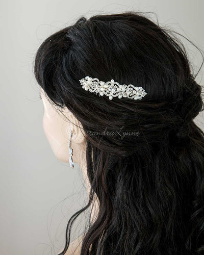 Elegant Wedding Hair Comb of Rhinestones and Pearls