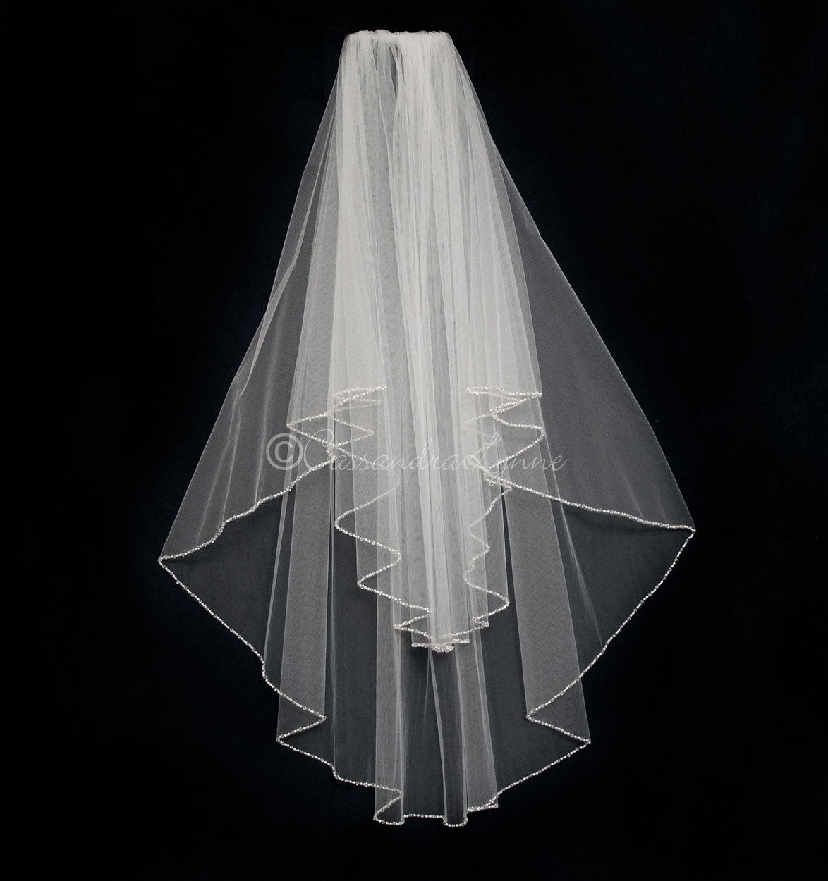 Circular Wedding Veil with Pearl and Crystal Edge