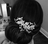 Wedding Comb of Crystal Leaves and Ivory Pearls