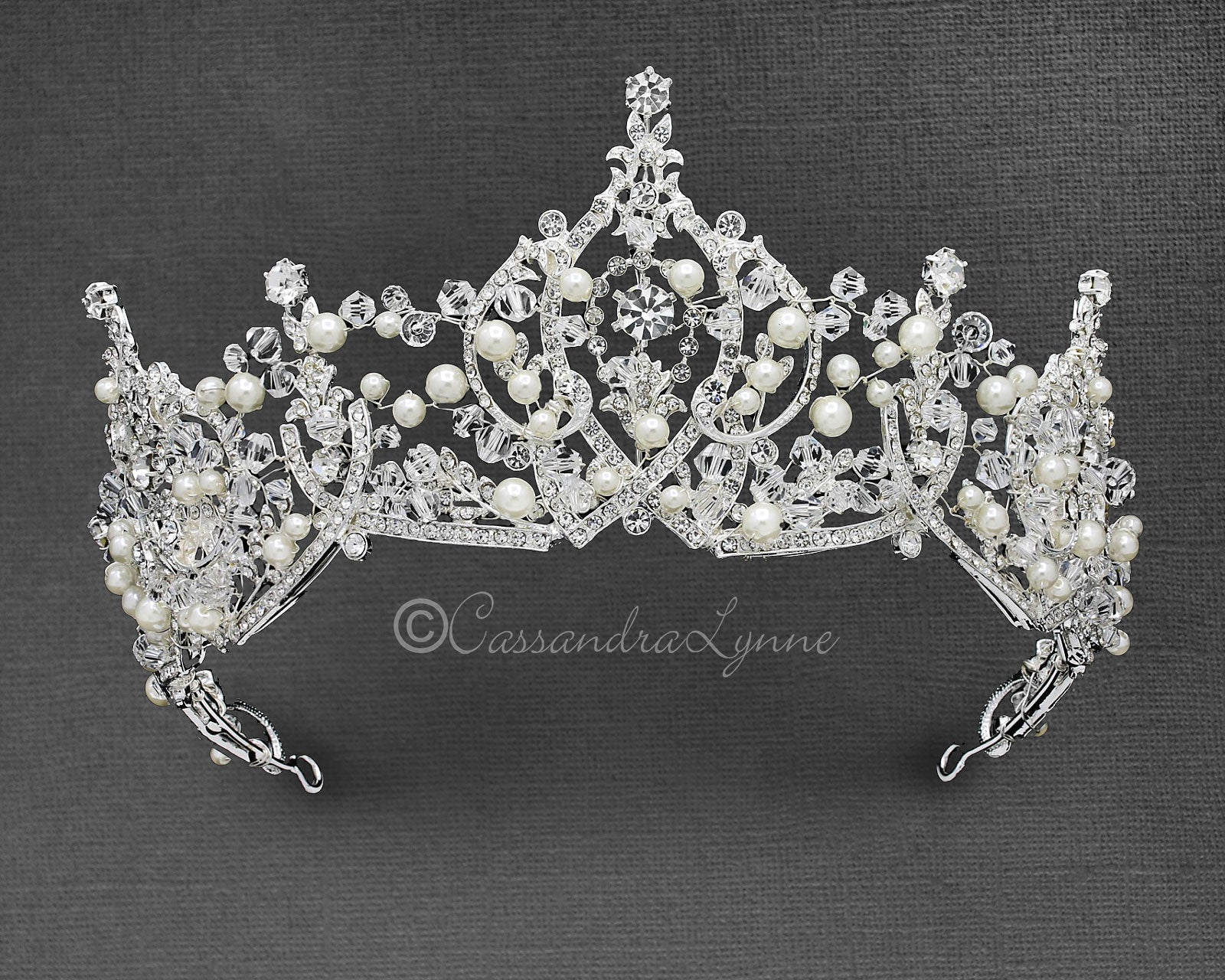 Ivory Pearl and Crystal Crown