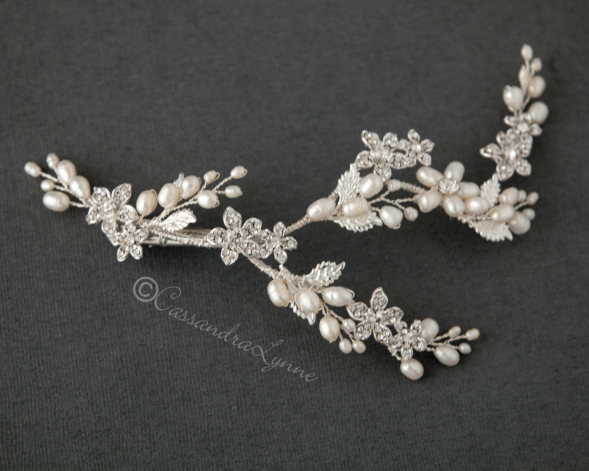 Pearl Bridal Vine Clip with Crystal Flowers