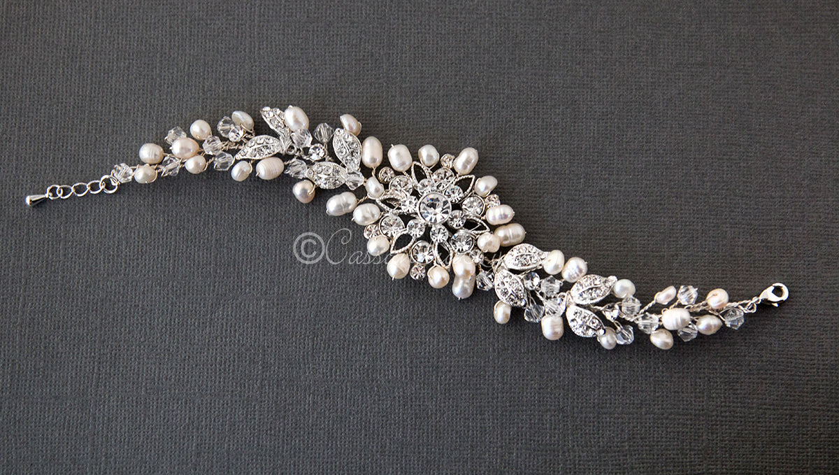 Floral Pearl and Crystal Bridal Bracelet