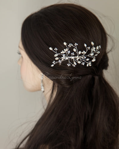 Pearl Bridal Hair Comb in Silver