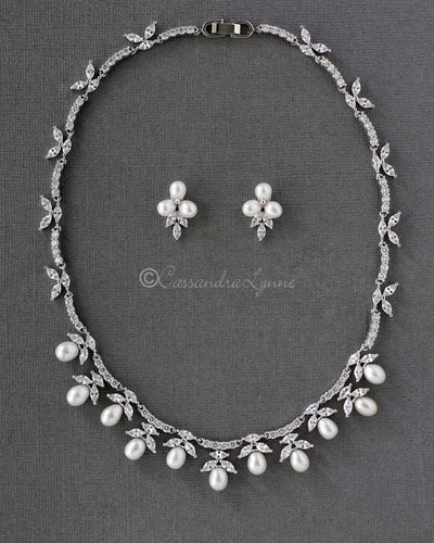 Bridal Necklace and Earrings Set with Pearl Drops