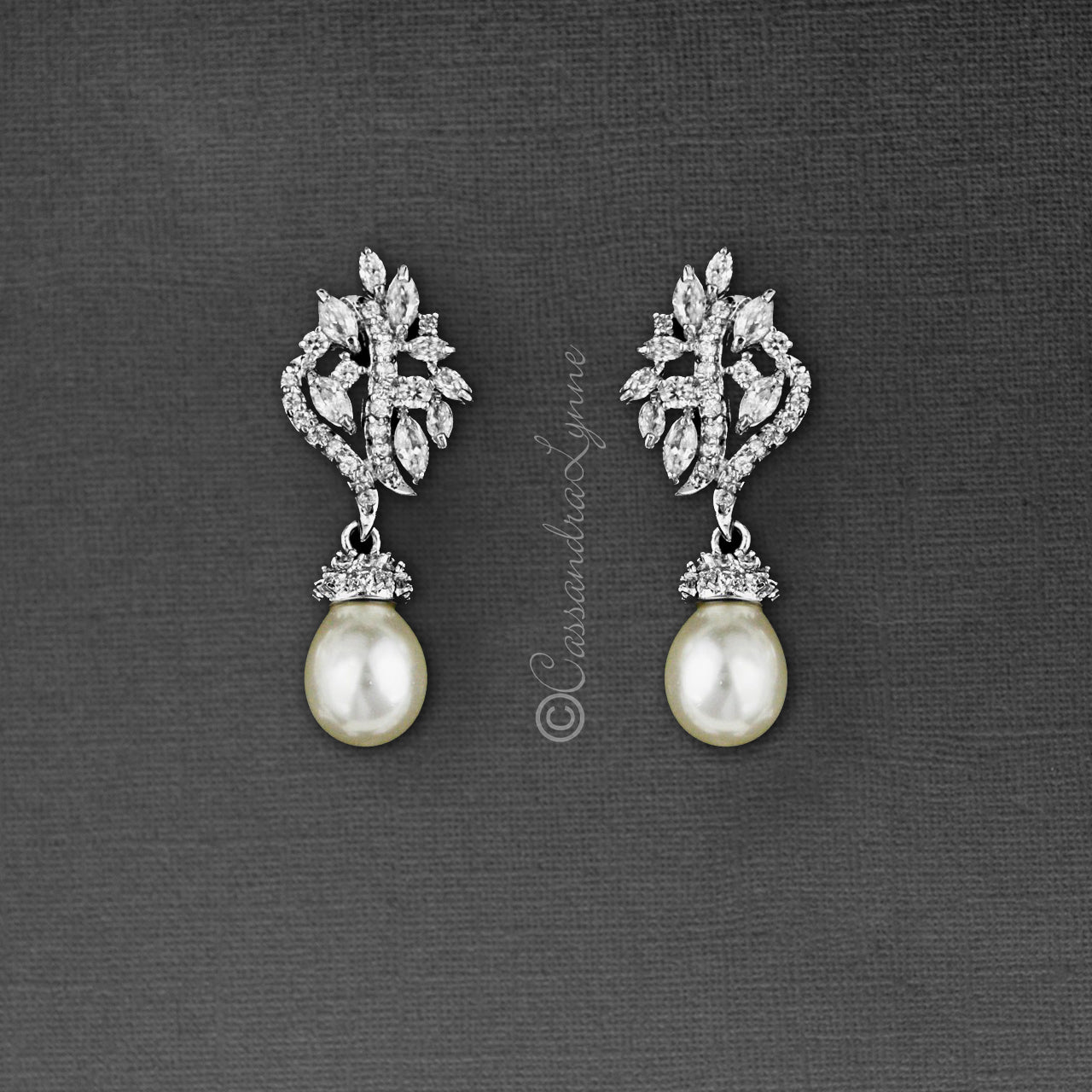 Pearl CZ Earring Drops with Marquise Vine Design