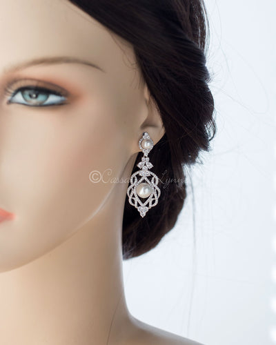 CZ Bridal Art Deco Earrings with Pearls