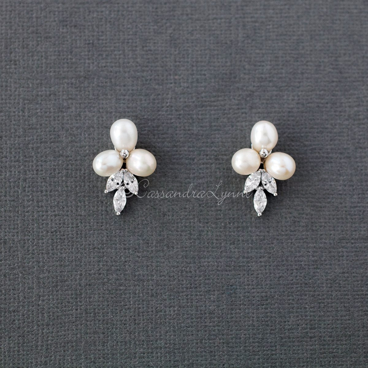 Pearl Flower Stud Earrings for the Bride