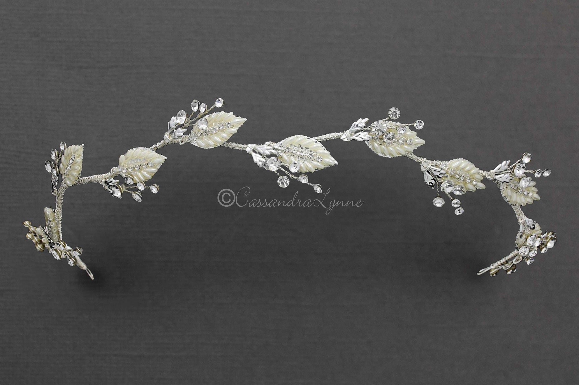 Oat Pearl Leaves Bridal Headband