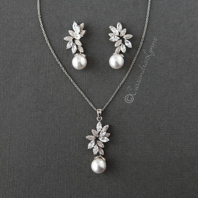 Pearl Pendant and Earrings Set with CZ Jewels