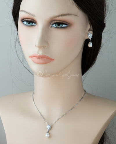 Bridal Pendant Set of Teardrop Pearls and CZ