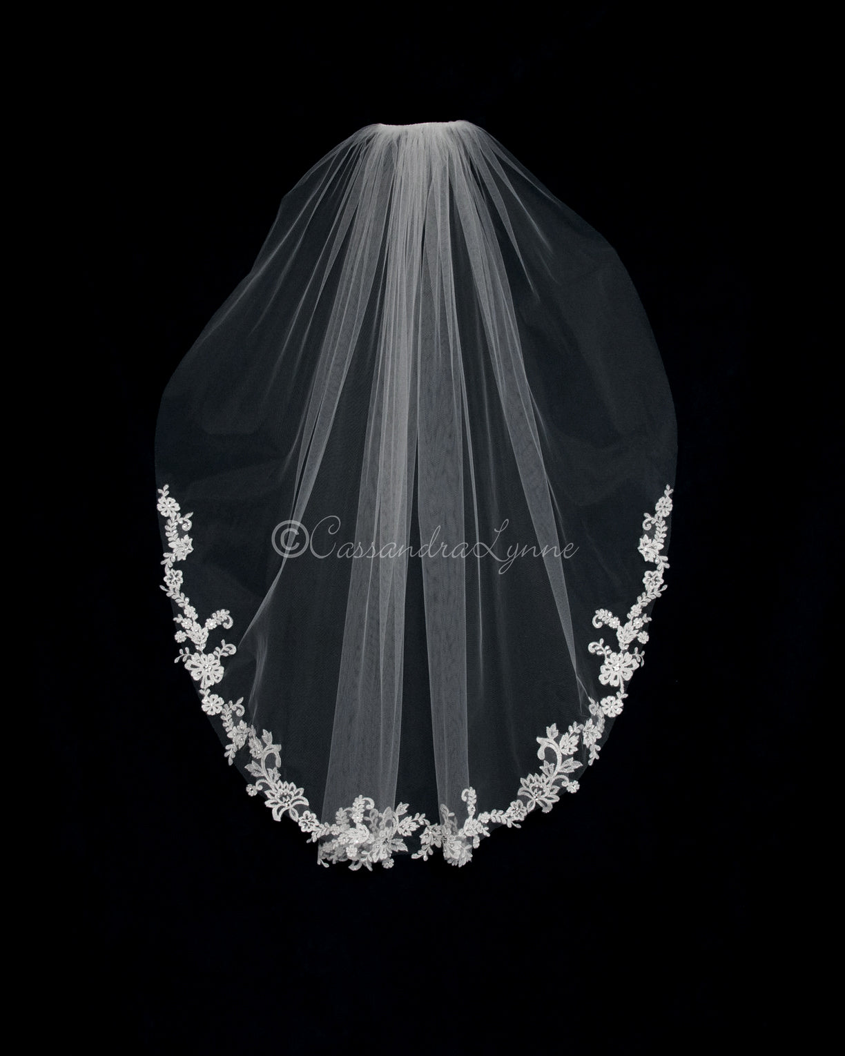 Silver Accented Partial Lace Pearl Veil