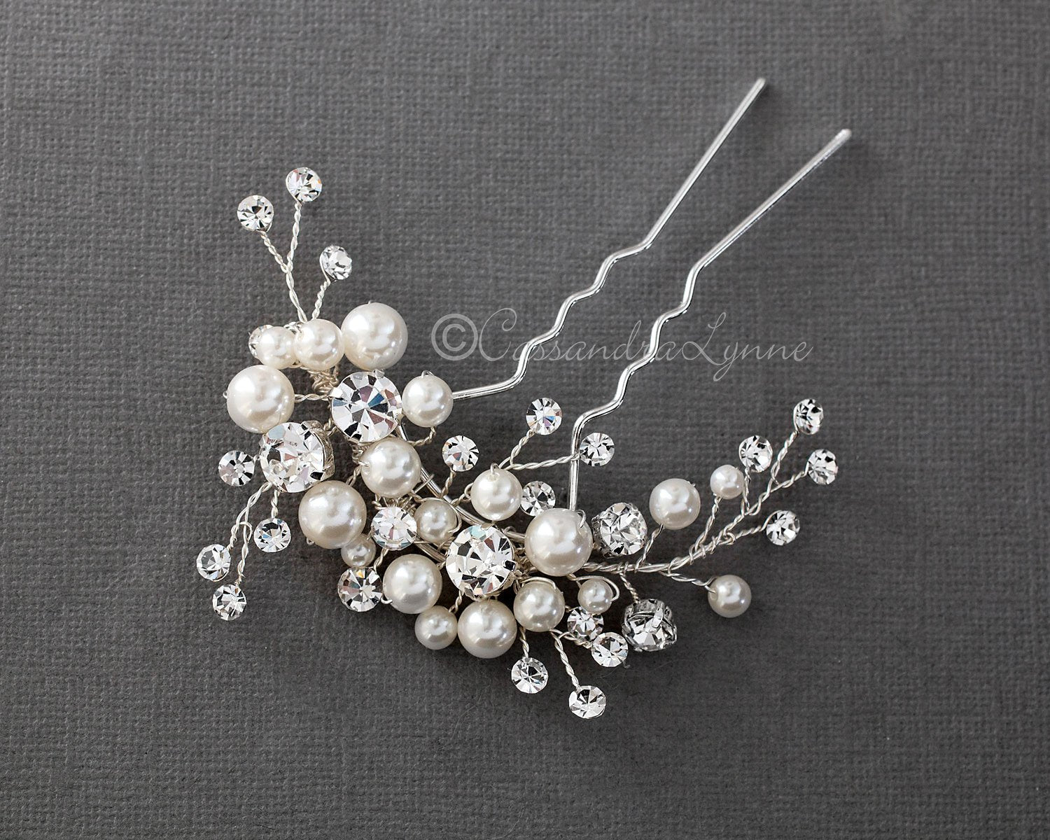 Bridal Hair Pin of Ivory Pearls and Crystal Sprays