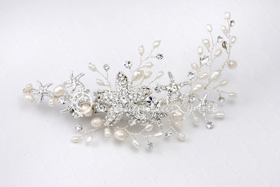 Starfish Wedding Hair Clip with Rhinestones and Pearls