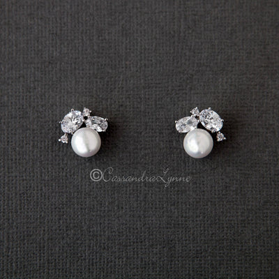 Pearl Stud Earrings with Oval CZ