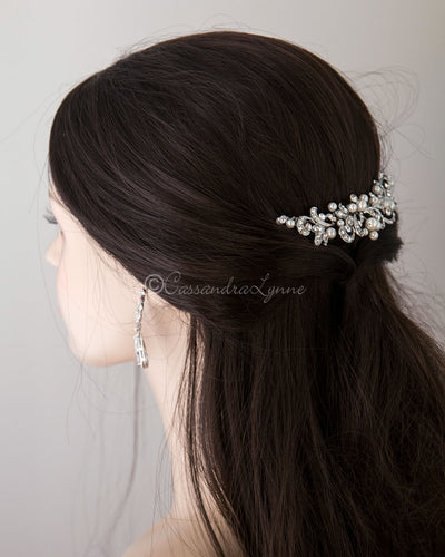 Tiara Comb of Antiqued Silver Scrolls and Pearls