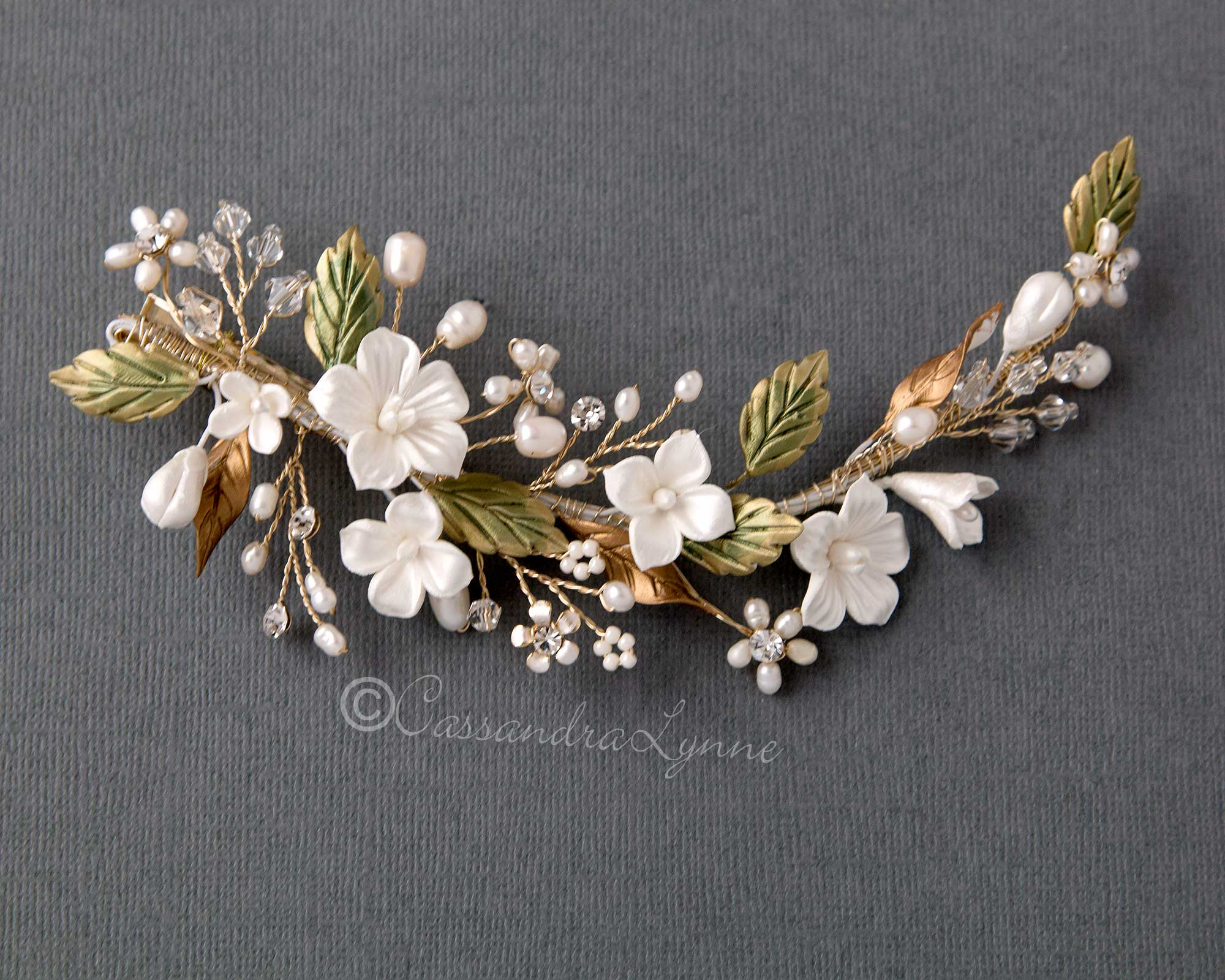 Bridal Clip with Green Leaves and Porcelain Flowers