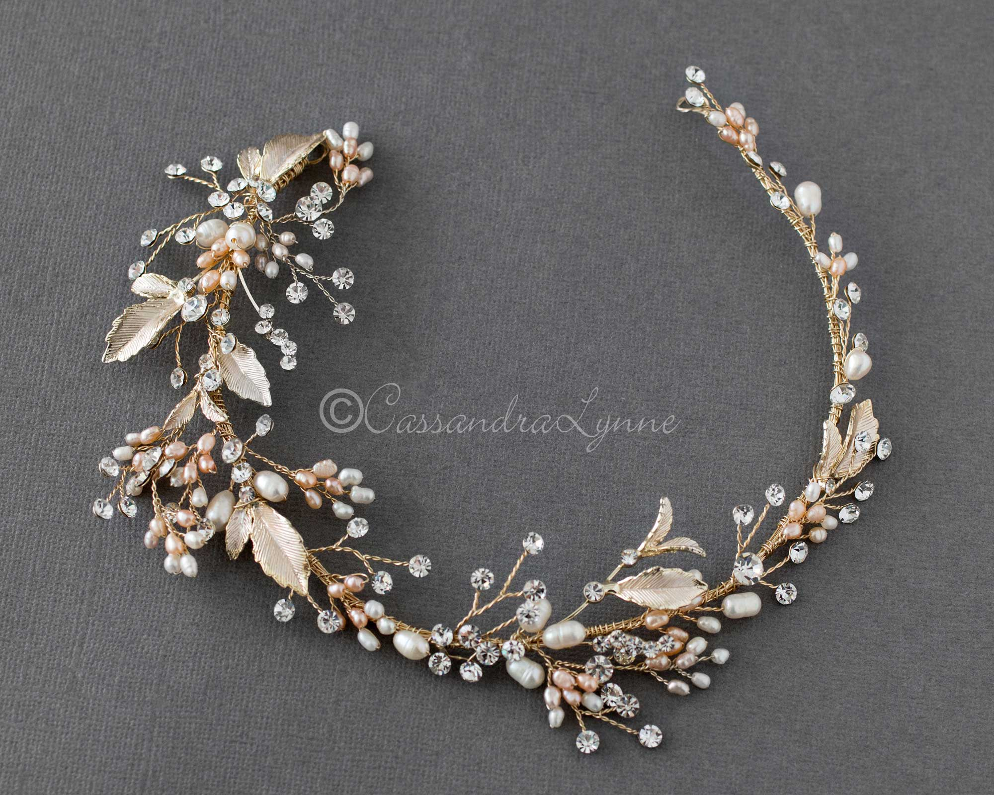 rum pink pearls wedding headband+