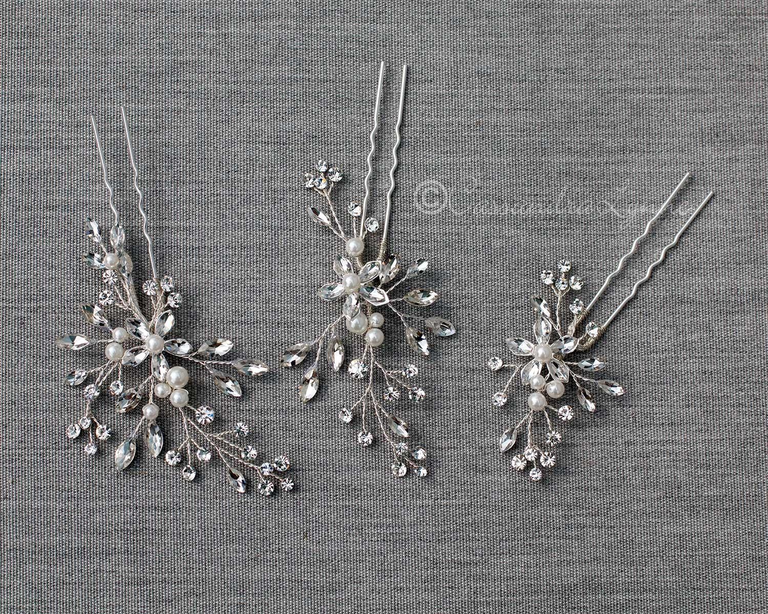 Pearl Hair Pin Set with Marquise Flowers