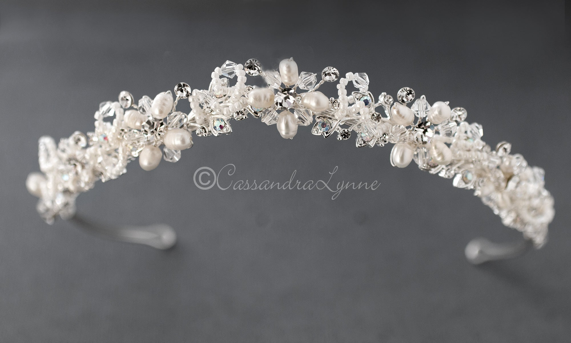 Bridal Tiara of Woven Beads and Crystals