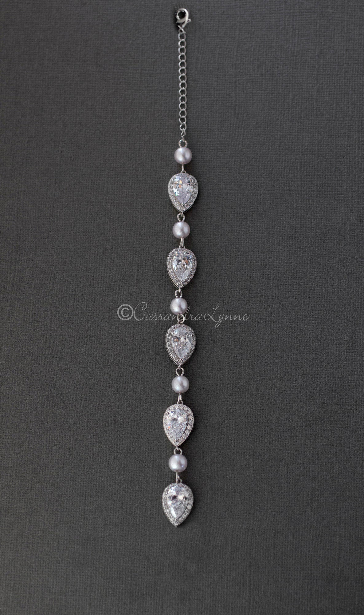Pearl and Pear CZ Necklace Back Drop