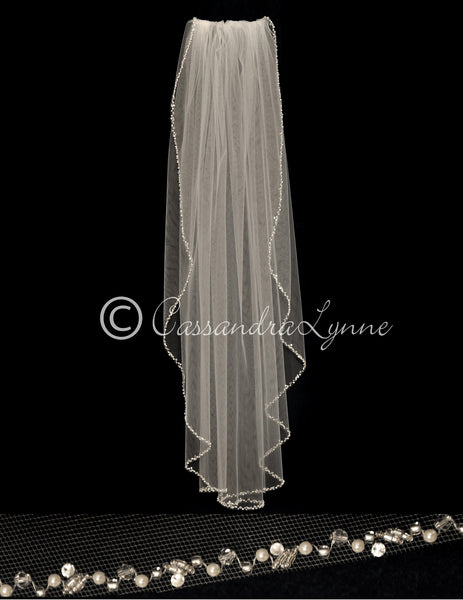Pearl and Crystal Wedding Veil Fingertip Length