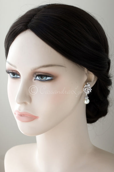Clip-On Pearl CZ Earring Drops with Marquise Vine Design