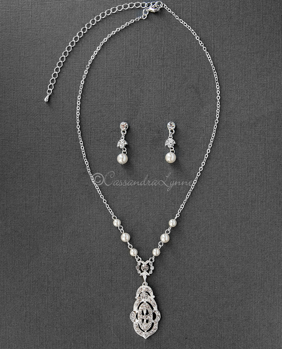 Bridal Jewelry Set of Vintage Rhinestone and Pearl