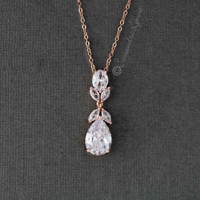 Pear Drop CZ Wedding Pendant