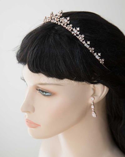 Petite Wedding Tiara of Crystal Flowers