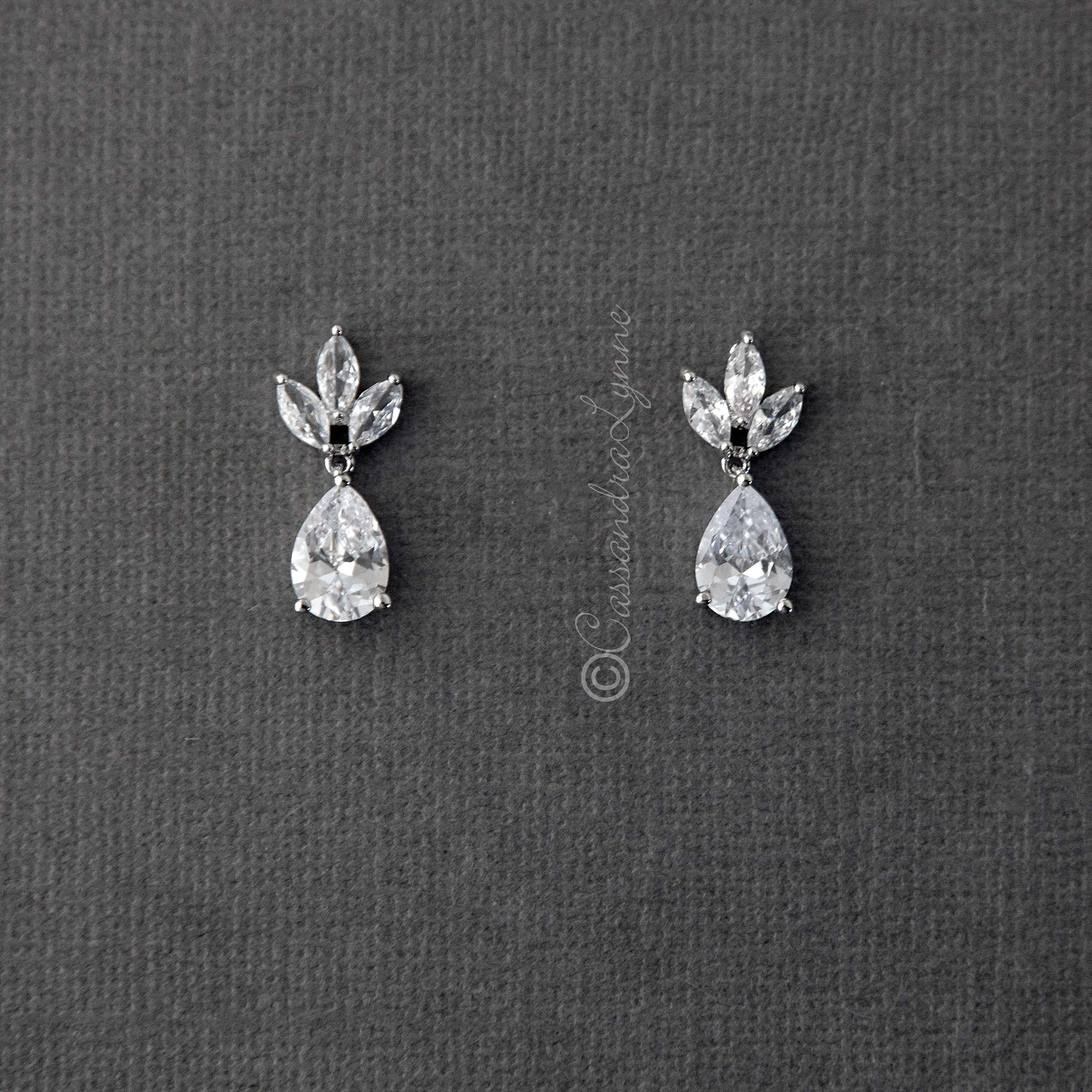 Wedding Earrings with CZ Pear Drop