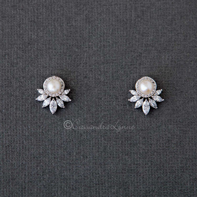 Dainty Freshwater and CZ Stud Earrings