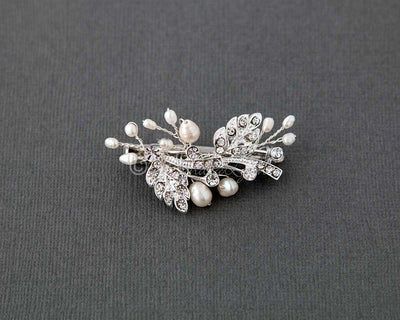 Petite Wedding Clip with Feather and Pearl Design
