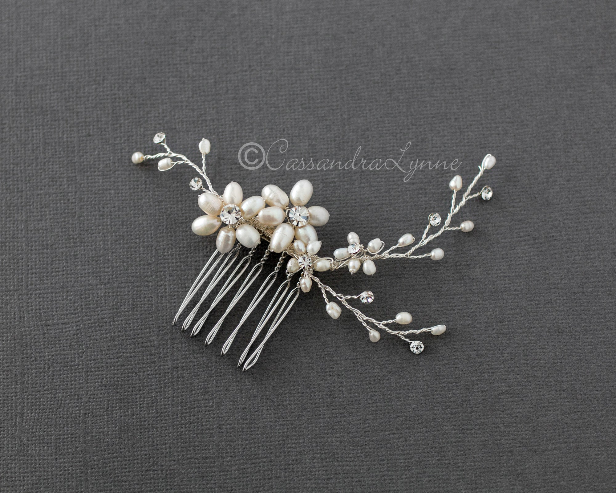 Ivory Pearl  and Rhinestone Comb Wedding Hair Accessory