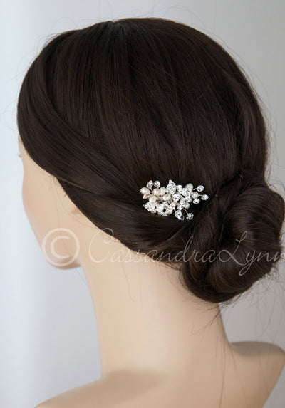 Petite Pearl Wedding Hair Clip with Crystals