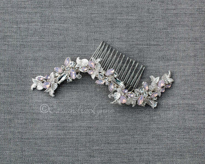 Bridal Hair Comb with Light Pink Opal Crystals