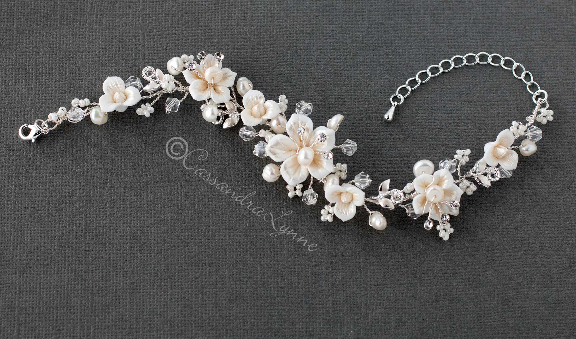 Bracelet of Porcelain Flowers and Pearls