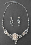 Porcelain Flower and Pearl Bridal Jewelry
