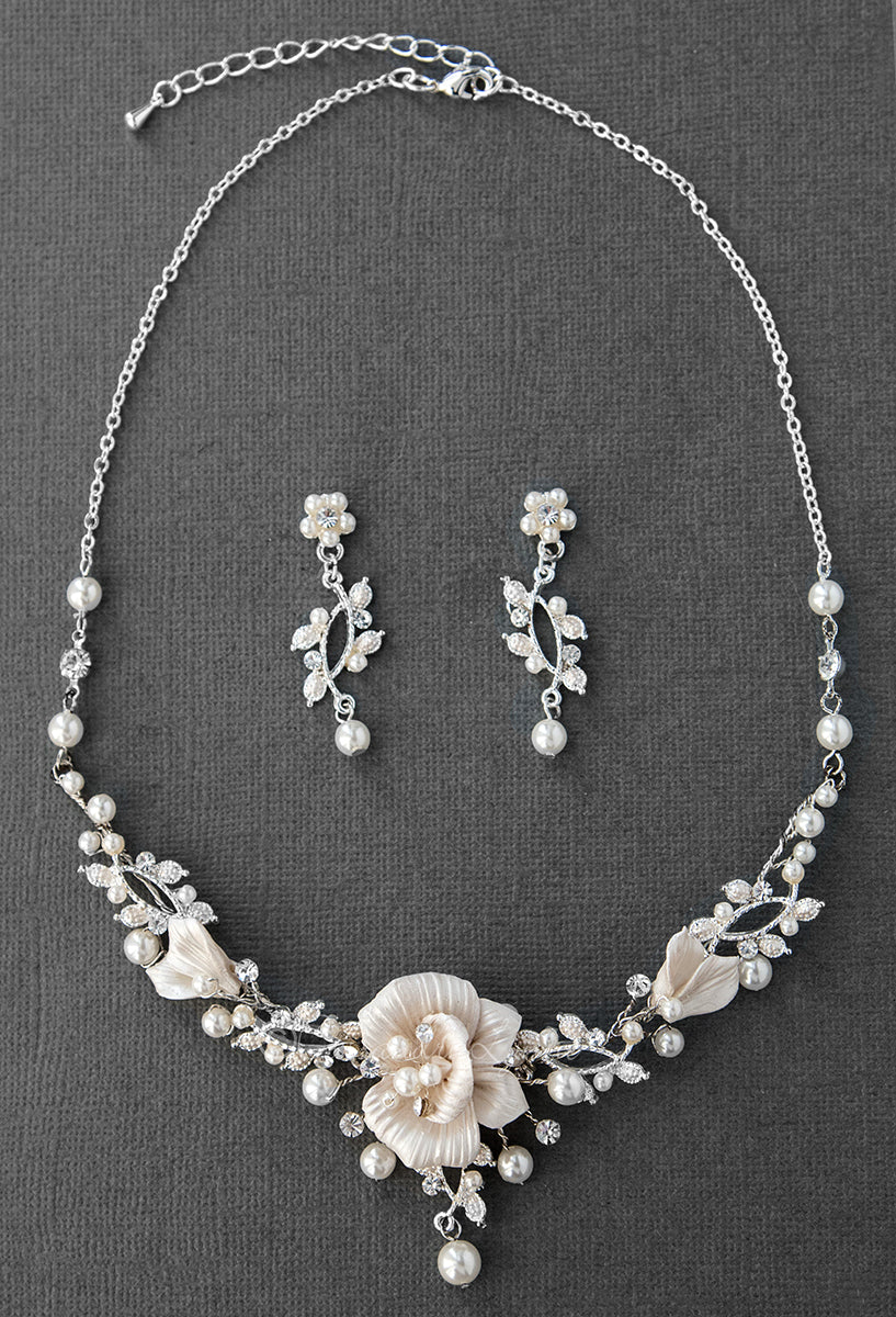 Porcelain Flower And Pearl Bridal Jewelry Necklace Cassandra Lynne