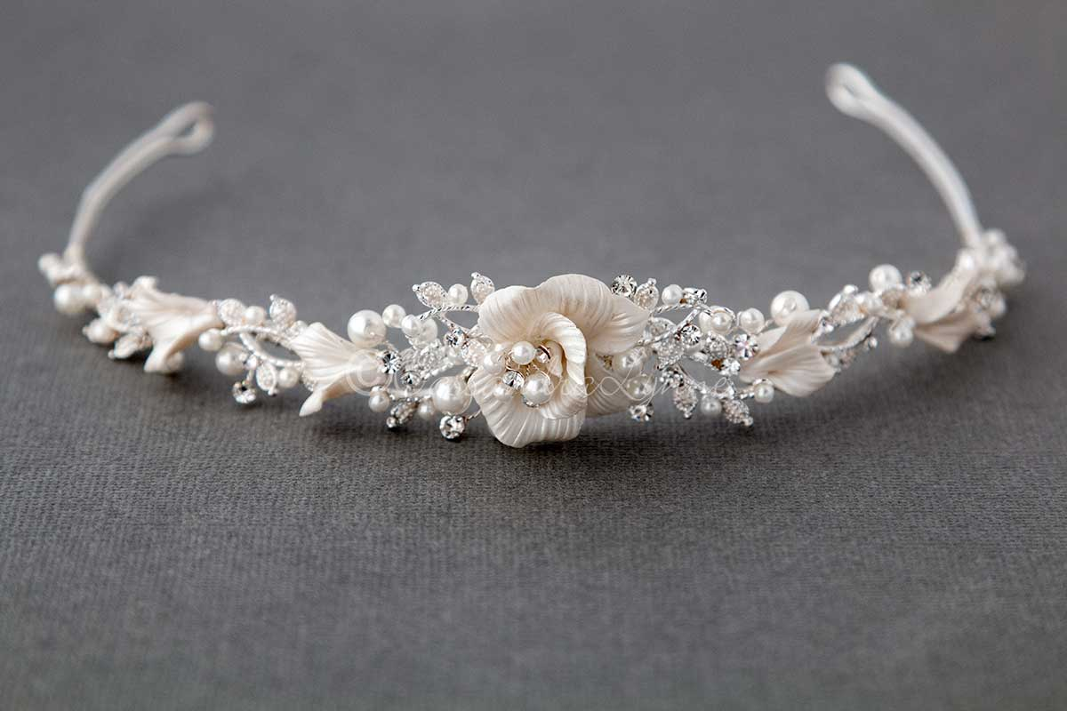 Wedding Tiara of Pearls and Porcelain Flower