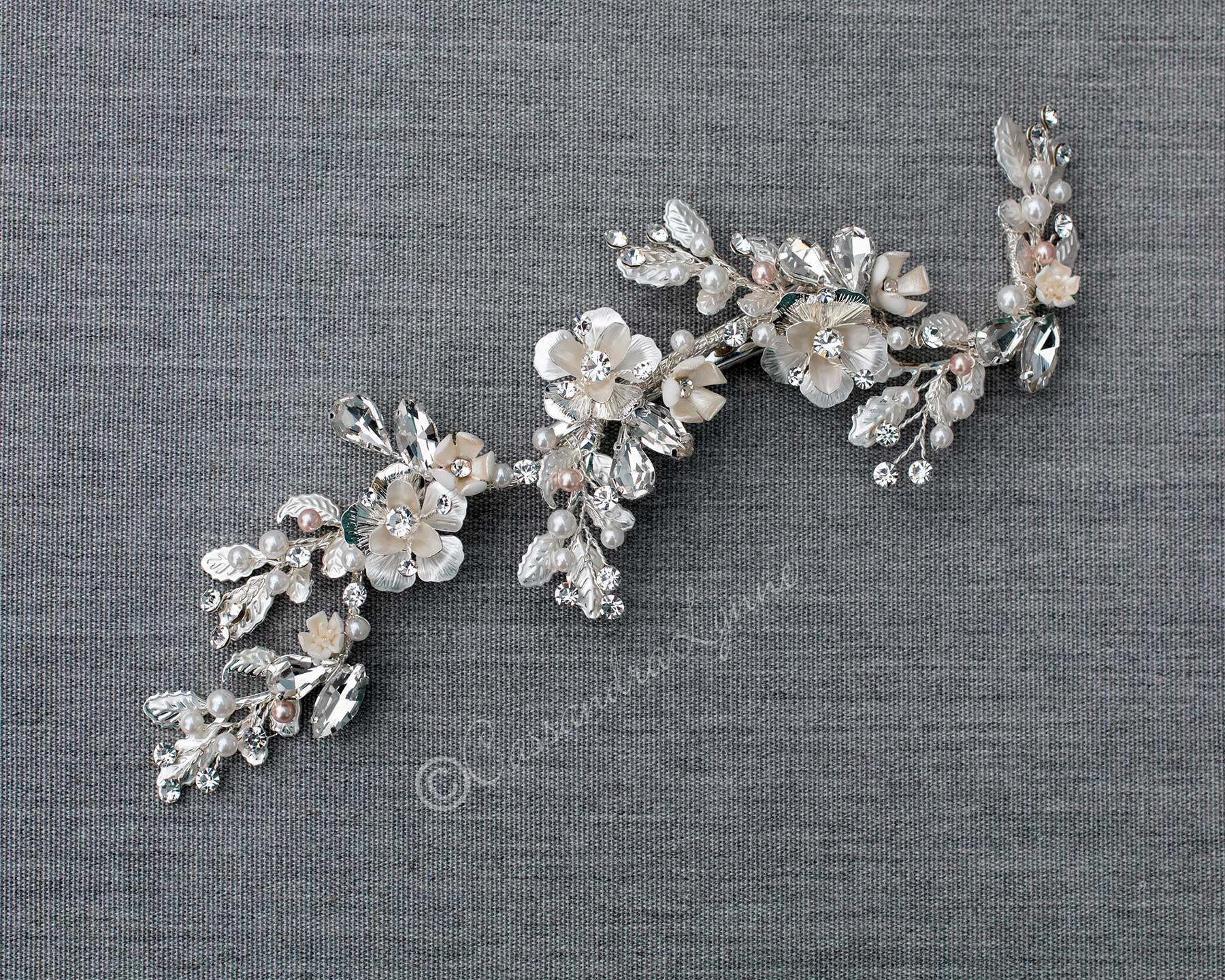 Bridal Hair Vine Clip with Porcelain Flowers