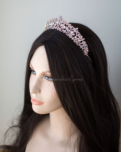 Rose Gold Crystal Wedding Tiara