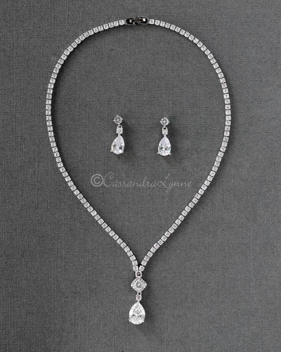 Bridal Necklace and Earrings with Pear Drop