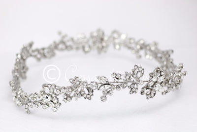 Wedding Hair Wreath Halo in Antiqued Silver