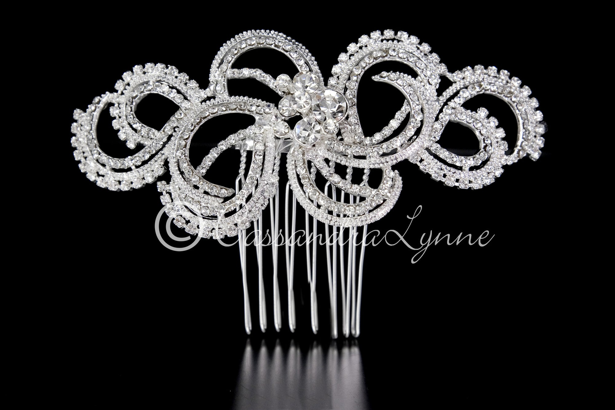 Wedding Hair Comb of Modern Rhinestone Swirls