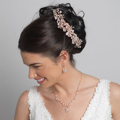 Wedding Headpiece Bun Wrap of Rhinestones